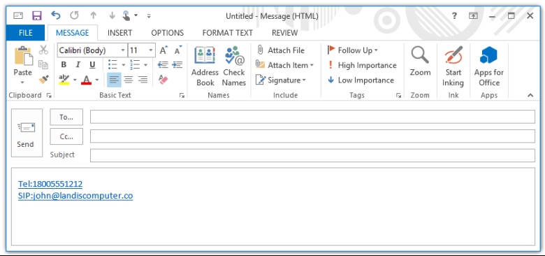 make outlook signature phone numbers and skype for business
