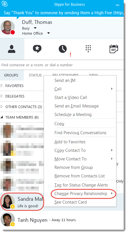Changing your Privacy Relationship in Skype for Business