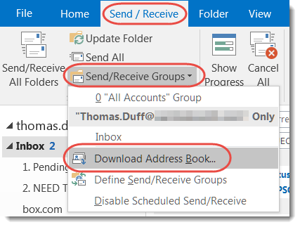 updating the outlook address book from the global address book one