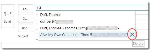 Removing names from the Outlook Autocomplete list – One