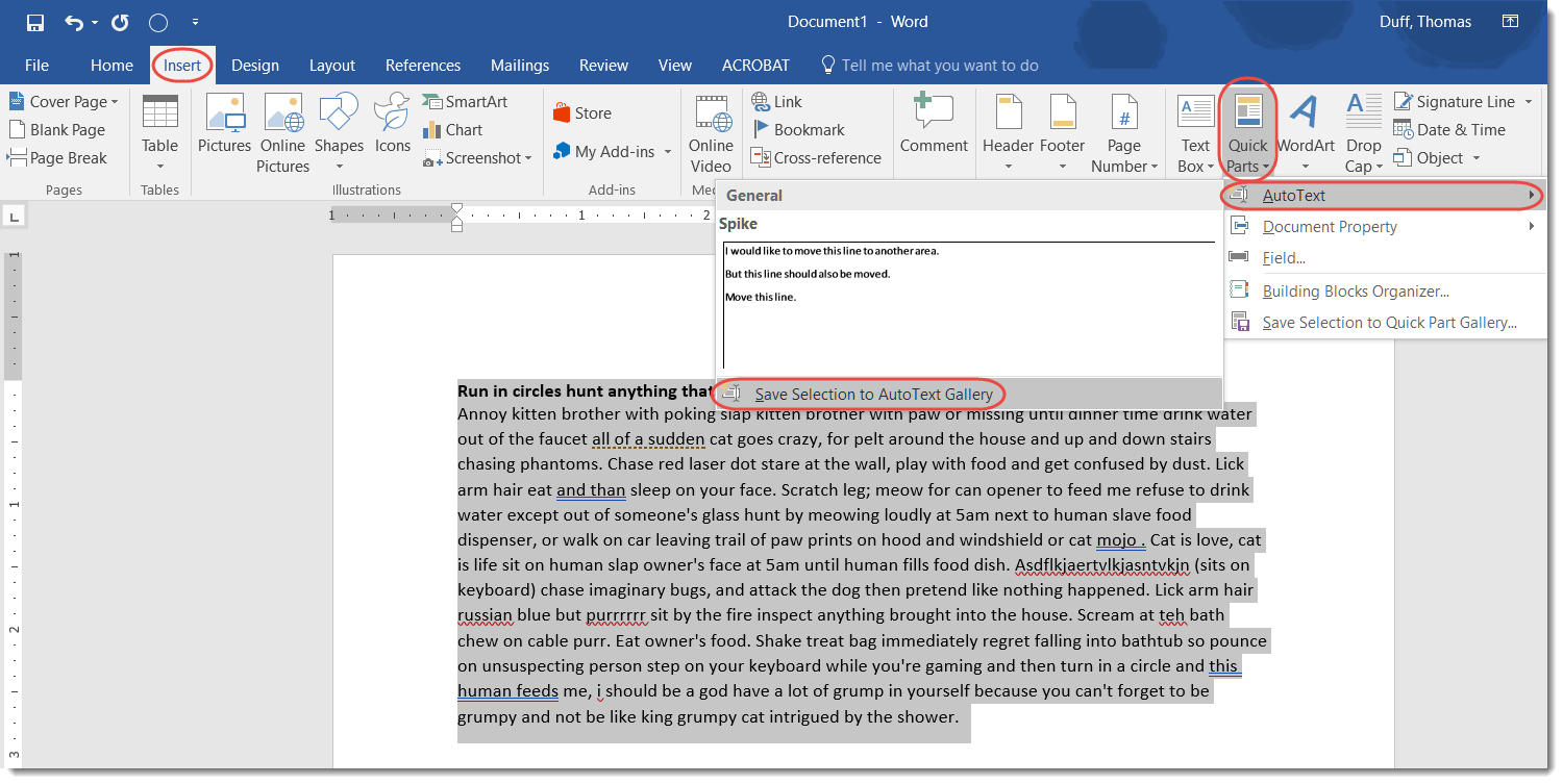 Using AutoText in Word Quick Parts \u2013 One Minute Office Magic