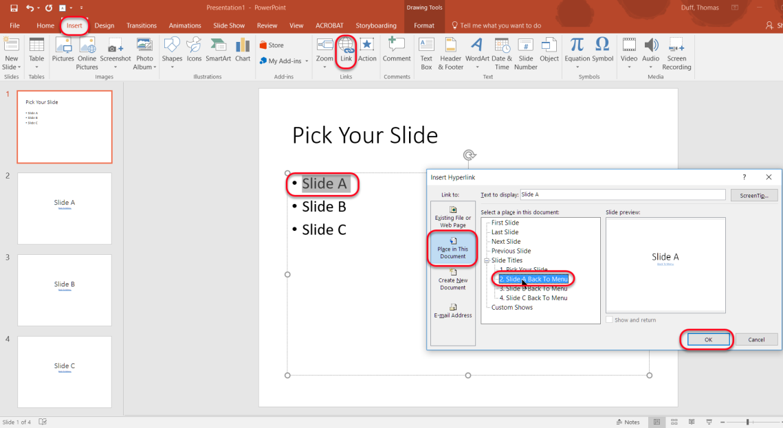 Linking to other slides in a PowerPoint presentation – One