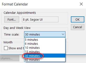 Setting the default meeting length in Outlook – One Minute