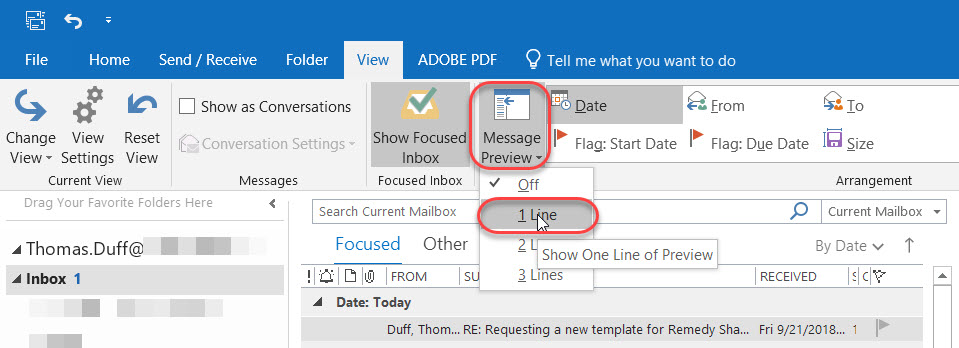 show preview in outlook