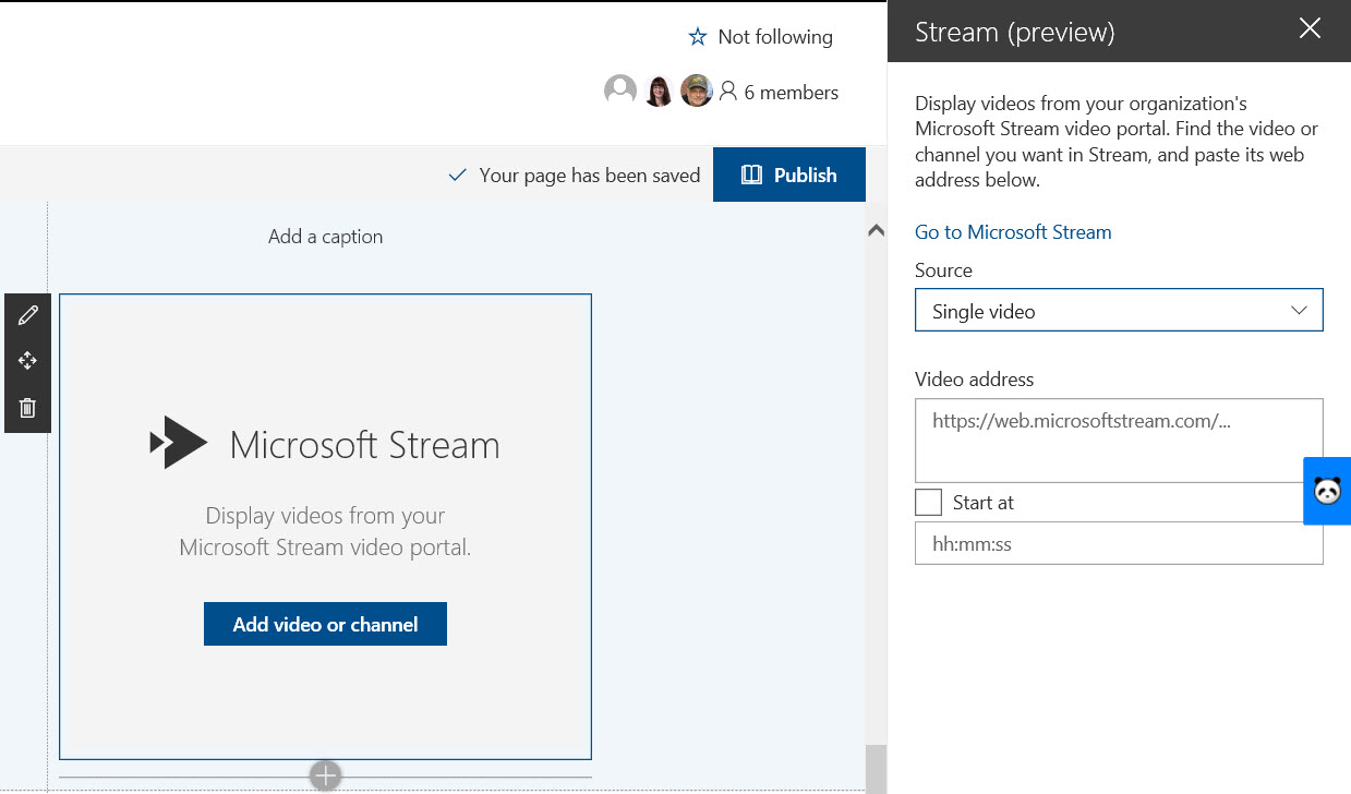 Using the Microsoft Stream web part in SharePoint Online