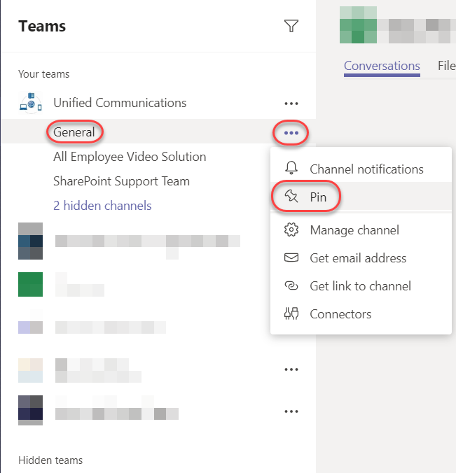 Machine generated alternative text: Teams  Your teams  Unified Communications  General  All Employee Video Solution  SharePoint Support Team  2 hidden channels  Hidden teams  Conversations  Channel notifications  Manage channel  Get email address  Get link to channel  Connectors