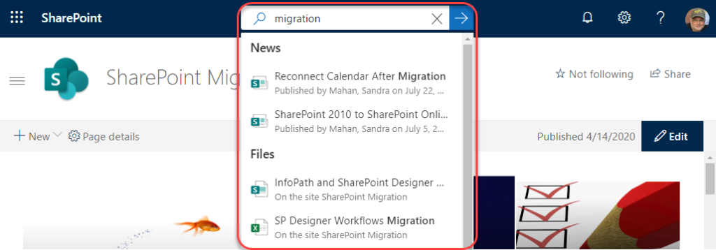 Machine generated alternative text: SharePoint  SharePoint Mi  + New v Page details  p migration  News  Reconnect Calendar After Migration  Published by Mahan, Sandra on July 22,  SharePoint 2010 to SharePoint Onli...  Published by Mahan, Sandra on July 5, 2...  Files  InfoPath and SharePoint Designer  On the site SharePoint Migration  SP Designer Workflows Migration  On the site SharePoint Migration  Not following  Published 4/14/2020  Share  Edit