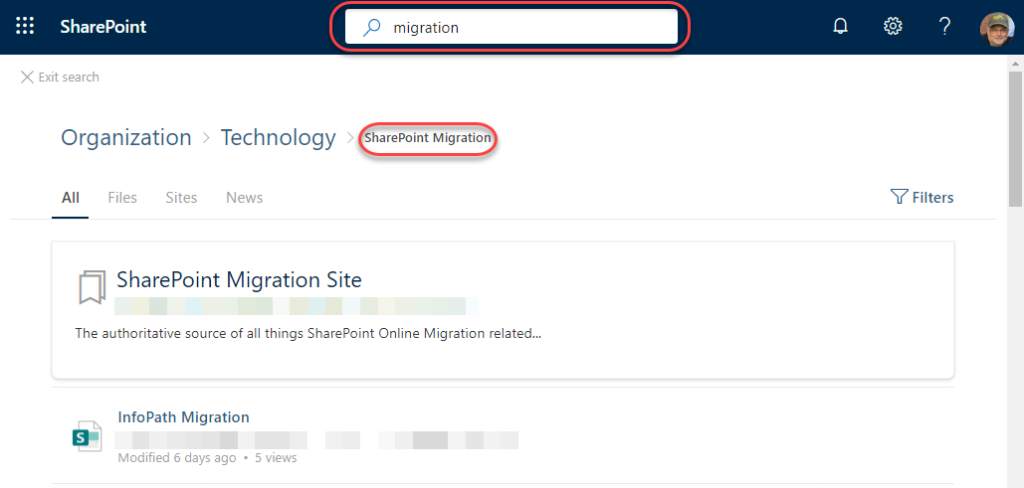 Machine generated alternative text: SharePoint  X Exit search  Organization  p migration  harePoint Migratio  Files  Sites  Technology  News  Y Filters  SharePoint Migration Site  The authoritative source of all things SharePoint Online Migration related...  InfoPath Migration  Modified 6 days ago • 5 views