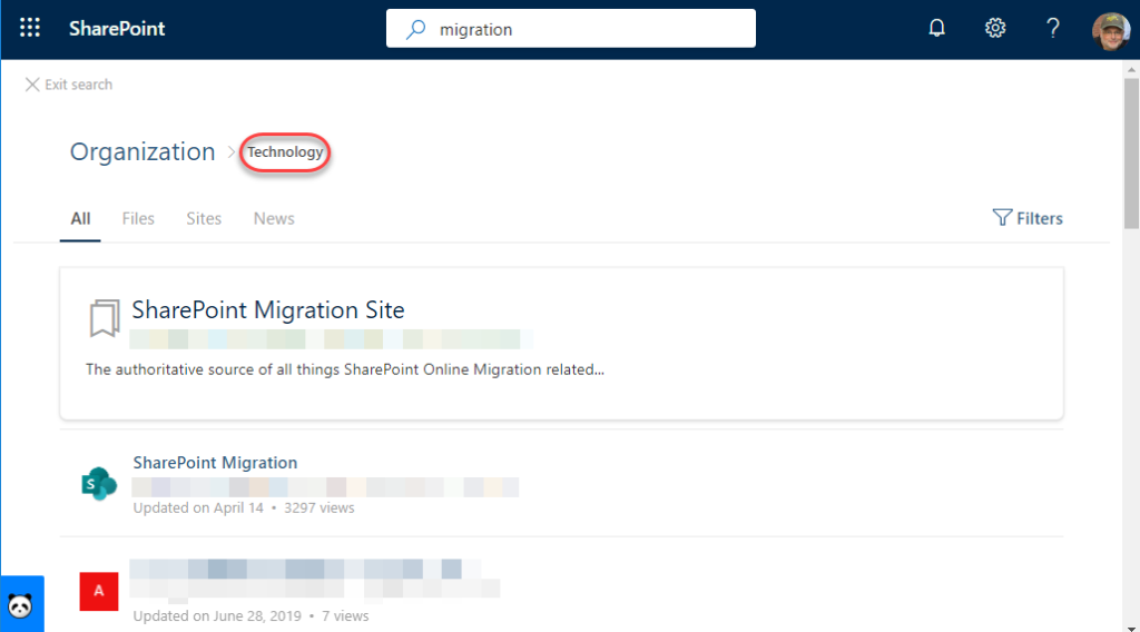 Machine generated alternative text: SharePoint  X Exit search  Organization >  p migration  Files  Sites  echnology  News  Y Filters  SharePoint Migration Site  The authoritative source of all things SharePoint Online Migration related...  SharePoint Migration  Updated an April 14 • 3297 views  updated on June 28, 2019 • 7 views