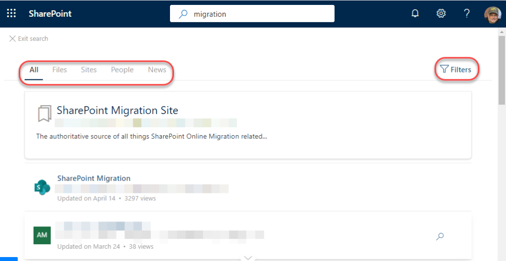 Machine generated alternative text: SharePoint  X Exit search  Sites  People  p migration  News  Y Filters  SharePoint Migration Site  The authoritative source of all things SharePoint Online Migration related...  SharePoint Migration  Updated an April 14 • 3297 views  updated on March 24  • 38 views